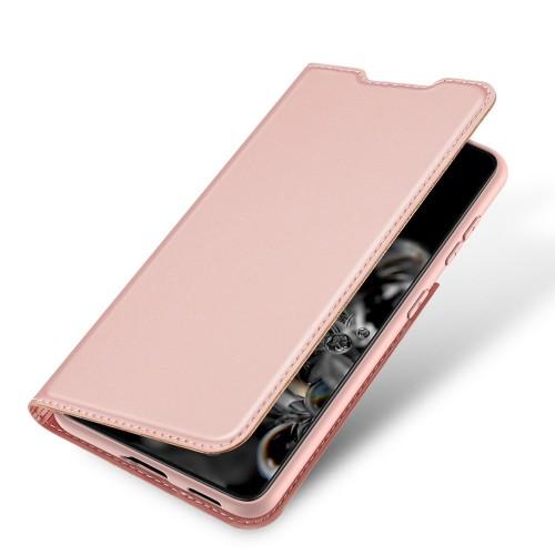 Кожен, розов калъф, с предпазен капак - стойка за Samsung Galaxy S21 Ultra