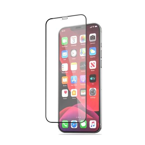 Стъклен, защитен протектор за дисплей - черен, с пълно покритие за iPhone 12 Pro Max