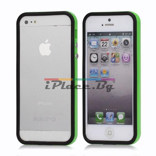 Пластмасов, черен бъмпер - зелен кант за iPhone 5/5S/SE