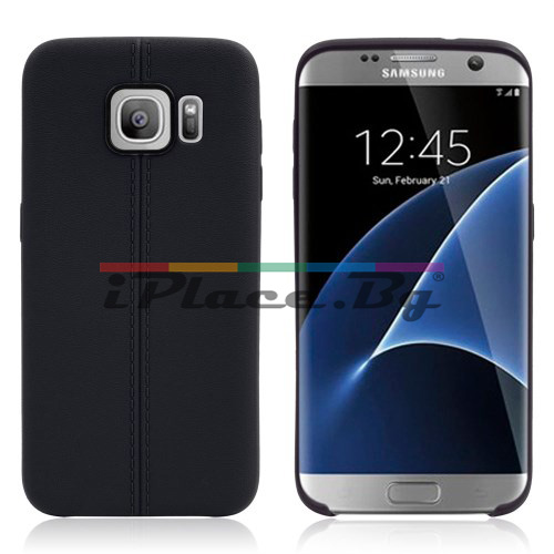 Силиконов, черен калъф, с десен - кожа за Samsung Galaxy S7 Edge