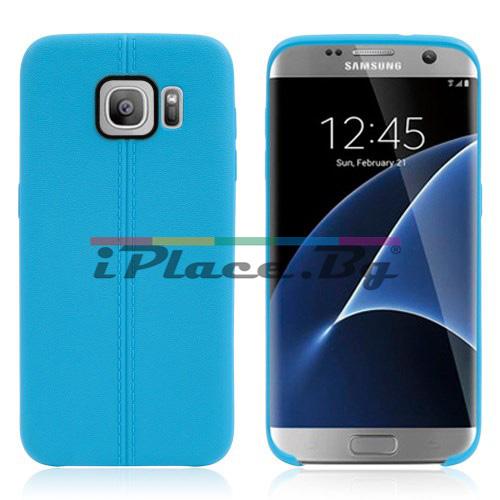 Силиконов, син калъф, с десен - кожа за Samsung Galaxy S7 Edge