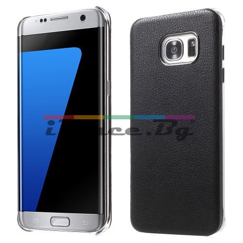 Пластмасов, черен панел - кожен гръб за Samsung Galaxy S7 Edge