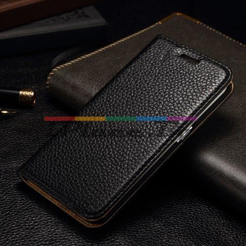 Кожен, черен калъф - естествена кожа за Samsung Galaxy S6 Edge