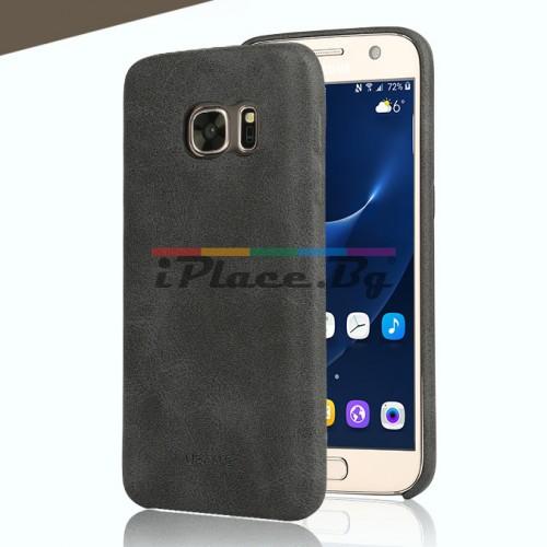 Кожен, черен калъф - ултра тънък за Samsung Galaxy S7 Edge