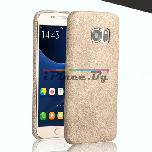 Кожен, светлокафяв калъф - ултра тънък за Samsung Galaxy S7 Edge