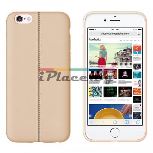 Кожен, златист калъф - тънък за iPhone 6/6S