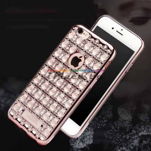 Силиконов, златист бъмпер - ултра тънък, със Swarovski кристали за iPhone 6/6S