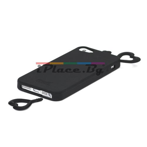 Силиконов, черен калъф - сърце за iPhone 5/5S/SE