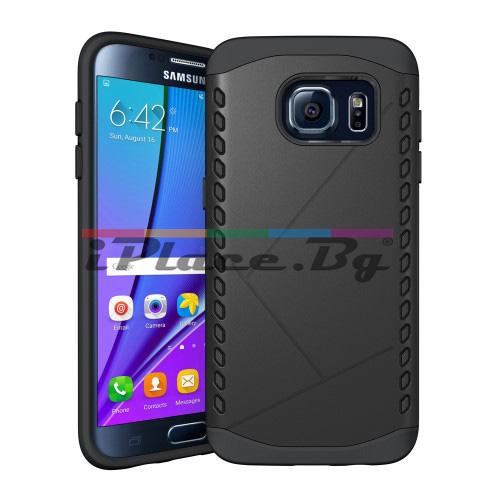 Силиконов, черен калъф - пластмасов гръб, удароустойчив за Samsung Galaxy S7 Edge