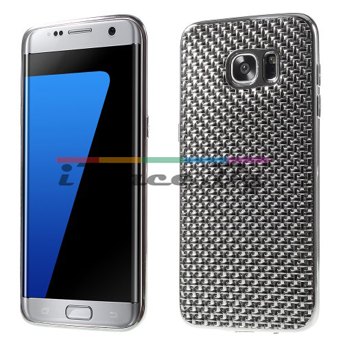Силиконов, сребрист панел - перфориран за Samsung Galaxy S7 Edge