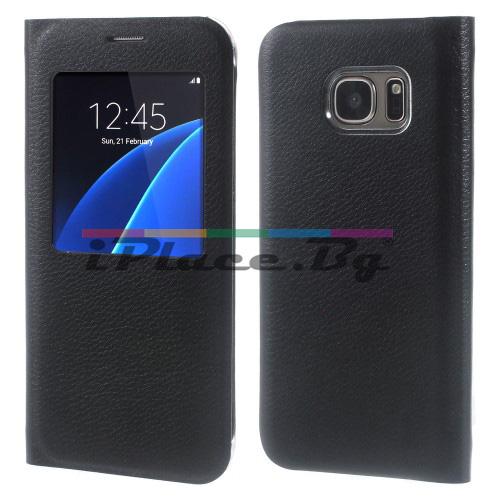 Кожен, черен калъф - отвор за Samsung Galaxy S7