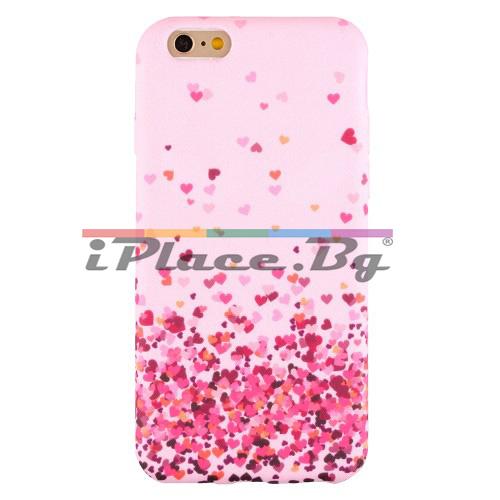 Силиконов, розов калъф - сърца за iPhone 6/6S