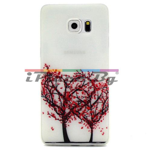 Силиконов, бял панел - дърво  за Samsung Galaxy S7 Edge