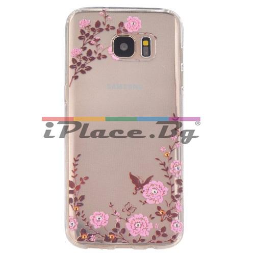 Силиконов, прозрачен калъф - рози за Samsung Galaxy S7