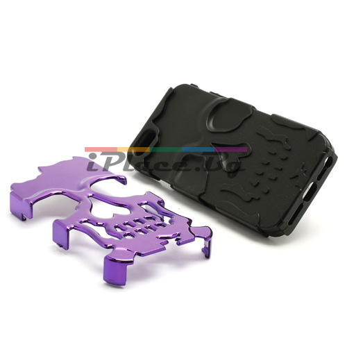 Силиконов, лилав калъф - череп за iPhone 5/5S/SE