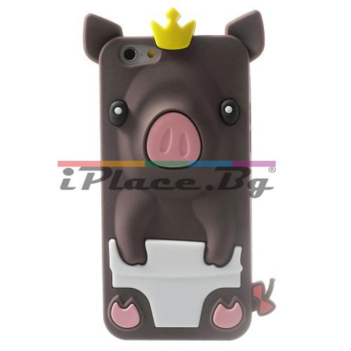 Силиконов, кафяв калъф - прасенце за iPhone 6/6S