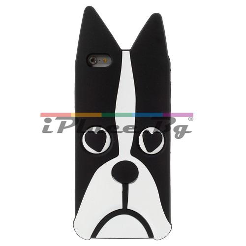 Силиконов, черен калъф - куче за iPhone 6/6S