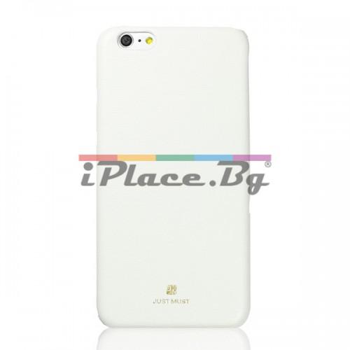 Кожен, бял калъф - тънък за iPhone 6/6S