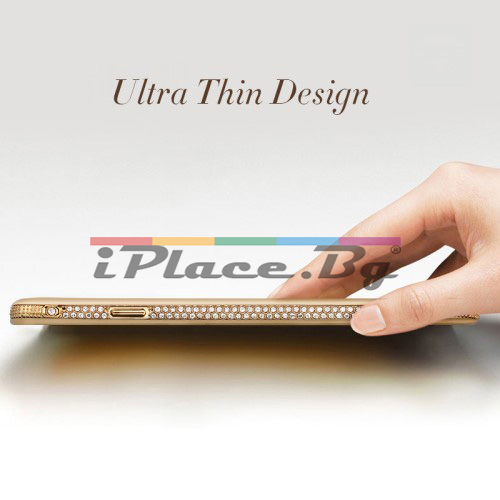 Силиконов, златист бъмпер, с прозрачен гръб - ултра тънък, със Swarovski кристали за iPhone 6/6S