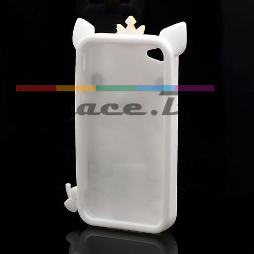 Силиконов, бял калъф - прасенце за iPhone 4/4S