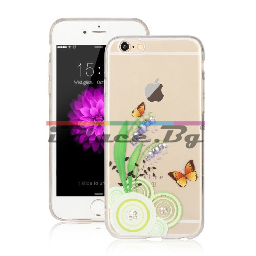 Силиконов, прозрачен калъф - цветя и пеперуди, с камъчета за iPhone 6/6S