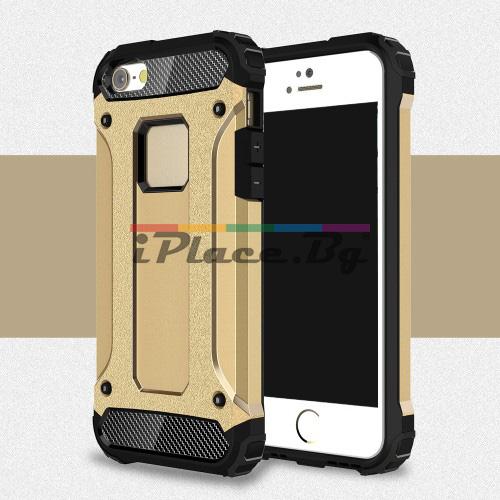 Силиконов, златист калъф - удароустойчив за iPhone 5/5S/SE