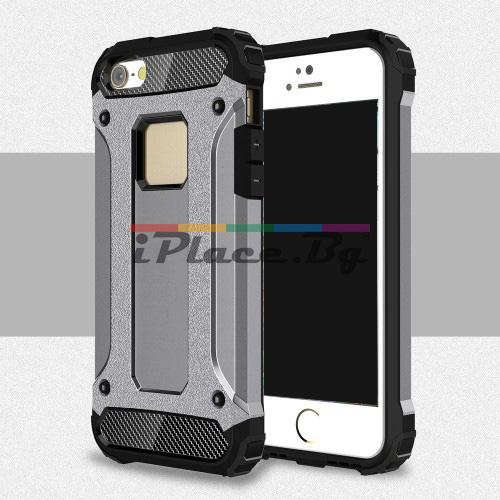 Силиконов, сив калъф - удароустойчив за iPhone 5/5S/SE