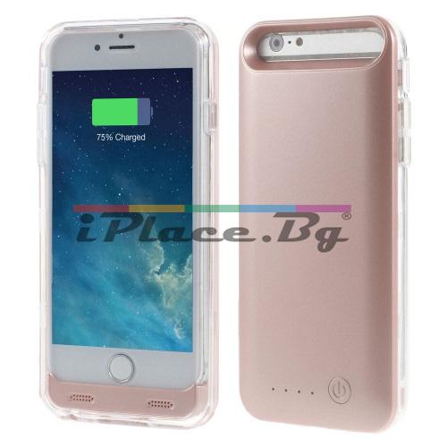 Пластмасов, златист (rose gold) панел - батерия 3100mAh, MFi за iPhone 6/6S