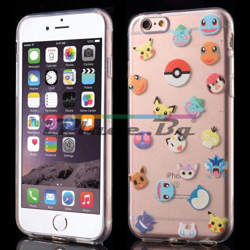 Силиконов, прозрачен калъф - Pokemon Go, ултра тънък за iPhone 6/6S