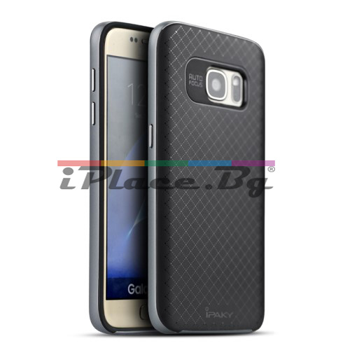 Пластмасов, сив бъмпер, с релефен, силиконов гръб за Samsung Galaxy S7