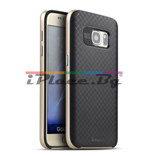 Пластмасов, златист бъмпер, с релефен, силиконов гръб за Samsung Galaxy S7
