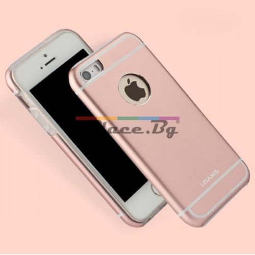 Силиконов, златист (rose gold) калъф - алуминиев гръб за iPhone 5/5S/SE