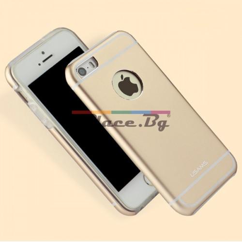 Силиконов, златист калъф - алуминиев гръб за iPhone 5/5S/SE