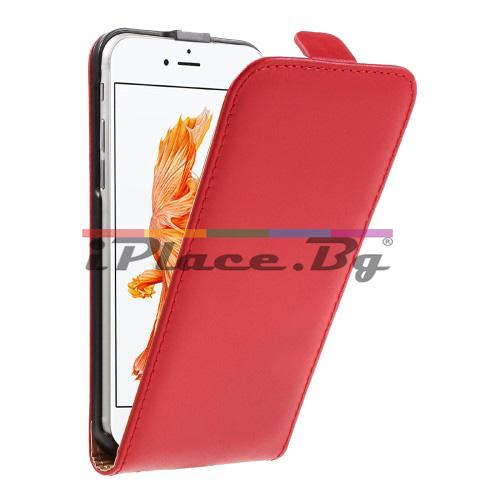 Кожен, червен калъф - естествена split кожа за iPhone 7/iPhone 8