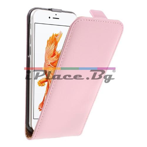Кожен, розов калъф - естествена split кожа за iPhone 7/iPhone 8