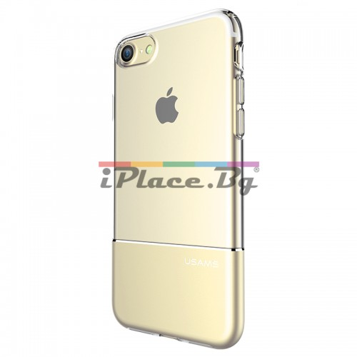 Силиконов, прозрачен калъф - алуминиев гръб, златист за iPhone 7/iPhone 8