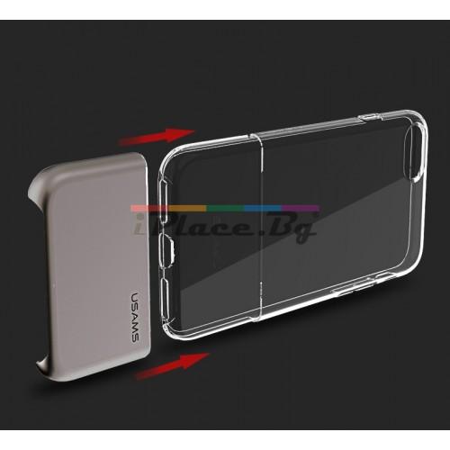 Силиконов, прозрачен калъф - алуминиев гръб, сив за iPhone 7/iPhone 8