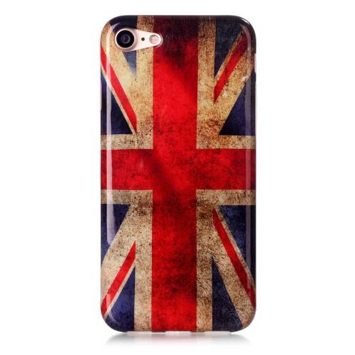 Силиконов, бял калъф - английско знаме за iPhone 7/iPhone 8