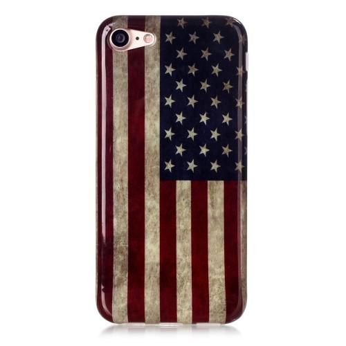Силиконов, бял калъф - американско знаме за iPhone 7/iPhone 8