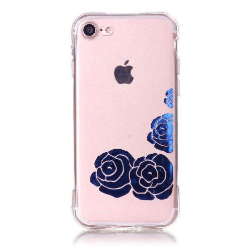 Силиконов, прозрачен калъф - рози за iPhone 7/iPhone 8