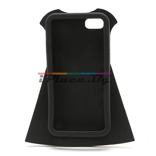 Силиконов, черен калъф - рокля за iPhone 5/5S/SE