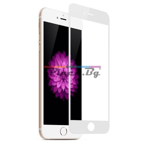 Стъклен, защитен екран за дисплей - бял, извит за iPhone 7 Plus/iPhone 8 Plus