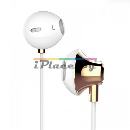 Пластмасови, бели слушалки с микрофон - златист за iPhone/Samsung