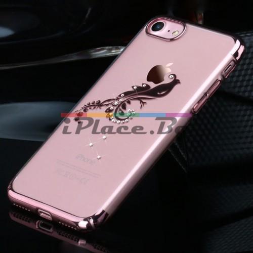 Пластмасов, златист (rose gold) бъмпер, с прозрачен гръб - ултра тънък, със Swarovski кристали за iPhone 7/iPhone 8