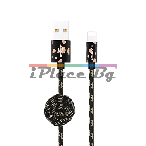 Черен кабел за данни и зареждане - плетен, 1 метър за iPhone/iPad