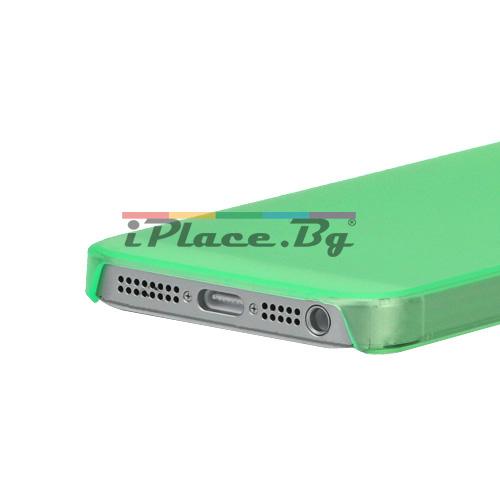 Пластмасов, прозрачен, зелен панел за iPhone 5/5S/SE