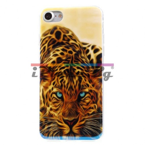 Силиконов, оранжев калъф - леопард за iPhone 7/iPhone 8