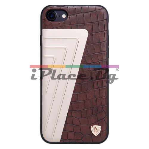 Силиконов, черен бъмпер - гръб с крокодилска кожа за iPhone 7/iPhone 8