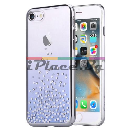 Пластмасов, син бъмпер, с прозрачен гръб - ултра тънък, със Swarovski кристали за iPhone 7/iPhone 8