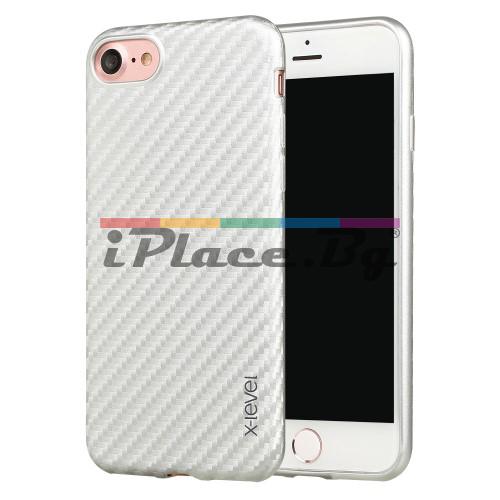 Кожен, бял калъф - карбонов десен, ултра тънък за iPhone 7/iPhone 8